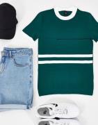 River Island - Grøn strikket t-shirt med farveblokke