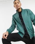 ASOS DESIGN - Harrington jakke med ståkrave i mørkegrøn