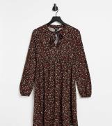 New Look Maternity - Blød minikjole med bindebånd i halsen og småblomstret print-Sort