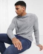 ASOS DESIGN - Kabelstrikket trøje i grå