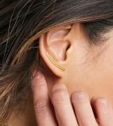 ASOS DESIGN - Øre-climber med bardesign i sterlingsølv med guldbelægning