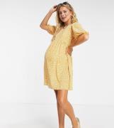 ASOS DESIGN Maternity - Kortærmet smock-minikjole i sennepsfarvet blomstermønster-Multifarvet