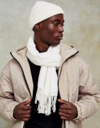 Topman - Vævet tørklæde i ecrufarve-Hvid