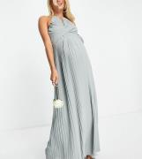 TFNC Maternity - Brudepige-maxikjole med plisseret slå-om-detalje i salviegrøn