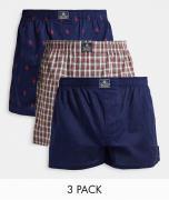 Polo Ralph Lauren - Pakke med 3 par vævede boksershorts i røde tern/marineblå/marineblå med gennemgående logoer-Sort