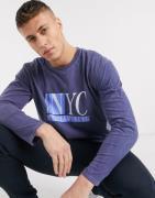 New Look - Blå NYC-t-shirt med lange ærmer