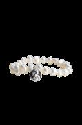 Armbånd - Hvide Perler Med Mønt