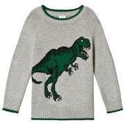 GAP Light Grey Dinosaur Sweater 12-18 mdr