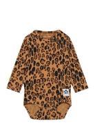 Basic Leopard Ls Body Bodies Long-sleeved Beige Mini Rodini